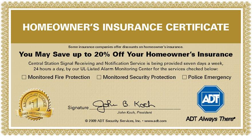 Homeowner's Insurance Certificate